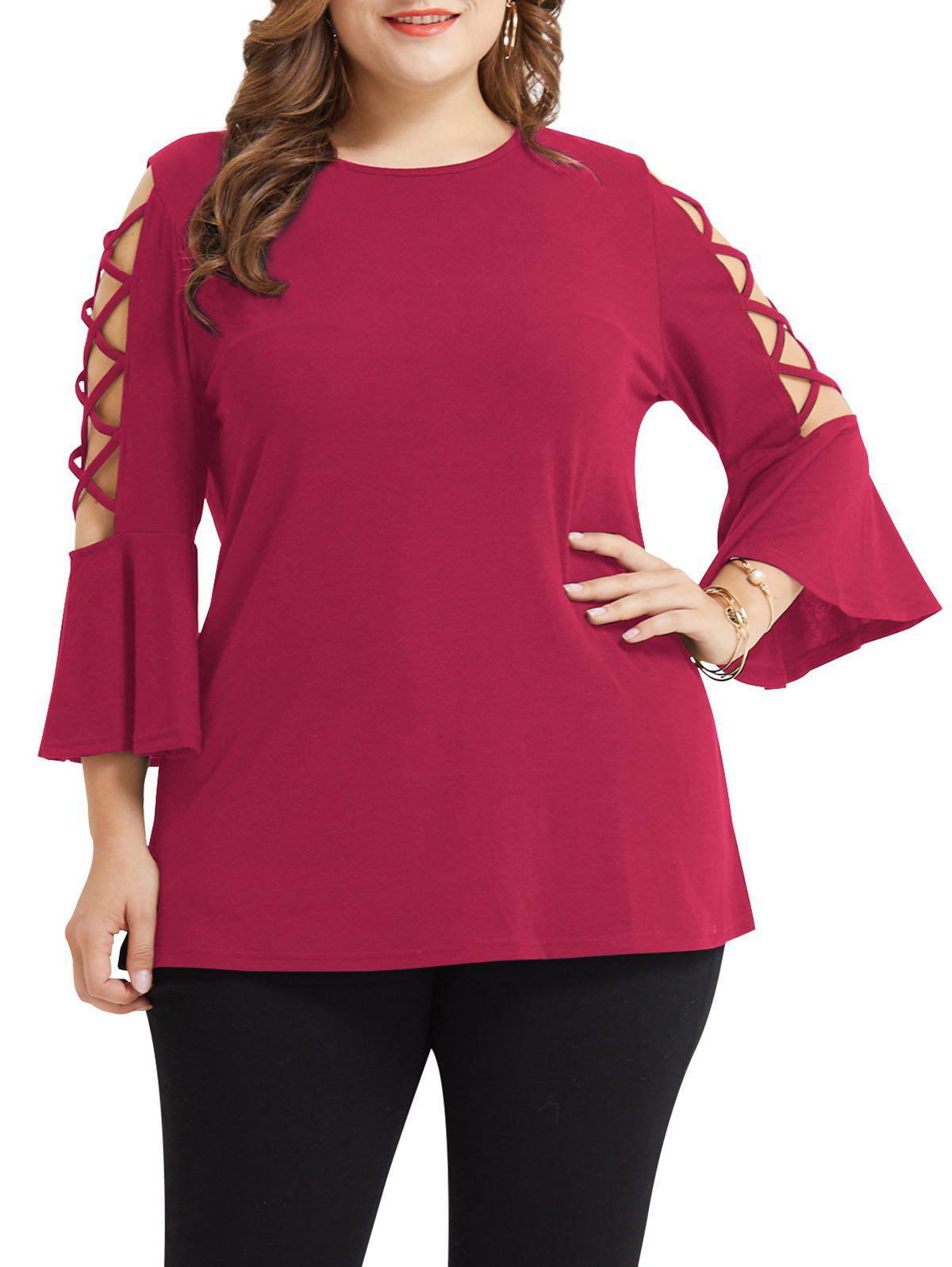 Affordable Plus Size Criss Cross Flare Sleeve T-shirt