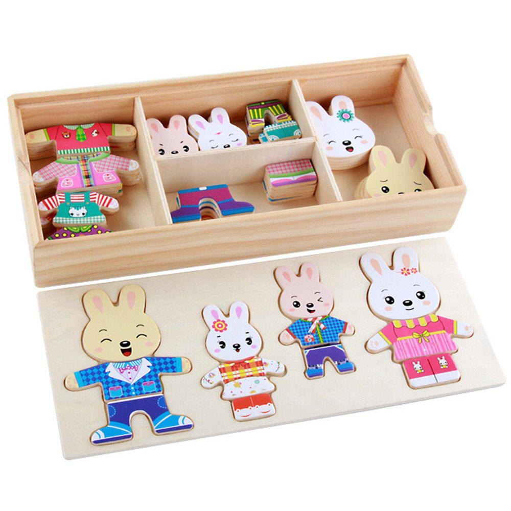 Online Cartoon Rabbit Wooden DIY Puzzle Toy