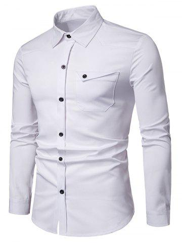 Chest Pocket Solid Long Sleeve Shirt