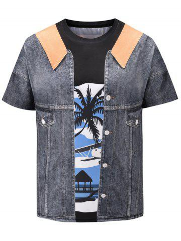 3D Faux Denim Jacket Print Short Sleeve T-shirt