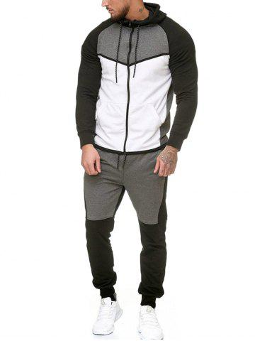 Contract Color Fleece Hooded Jacket and Jpgger Pants