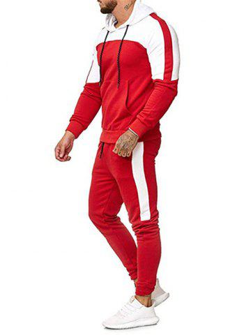 Color Block Pullover Hoodie and Casual Jogger Pants