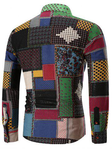 Ethnic Geometric Print Long Sleeve Shirt, Multi