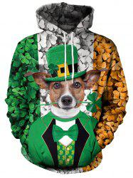 3D Clover and Dog Printed Pullover Hoodie -