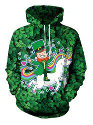 Clover and Unicorn Pattern Pullover Hoodie -