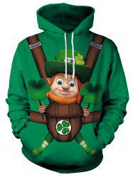 3D Cartoon Printed Pullover Hoodie -
