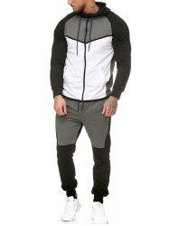 Contract Color Fleece Hooded Jacket and Jpgger Pants -