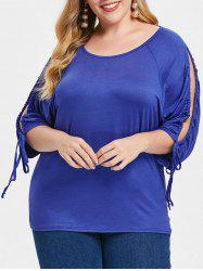 Round Neck Tie Sleeve Plus Size T-shirt -