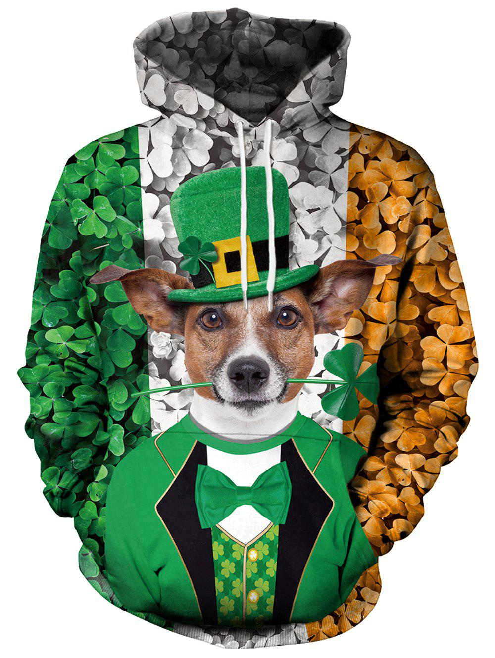 Fancy 3D Clover and Dog Printed Pullover Hoodie