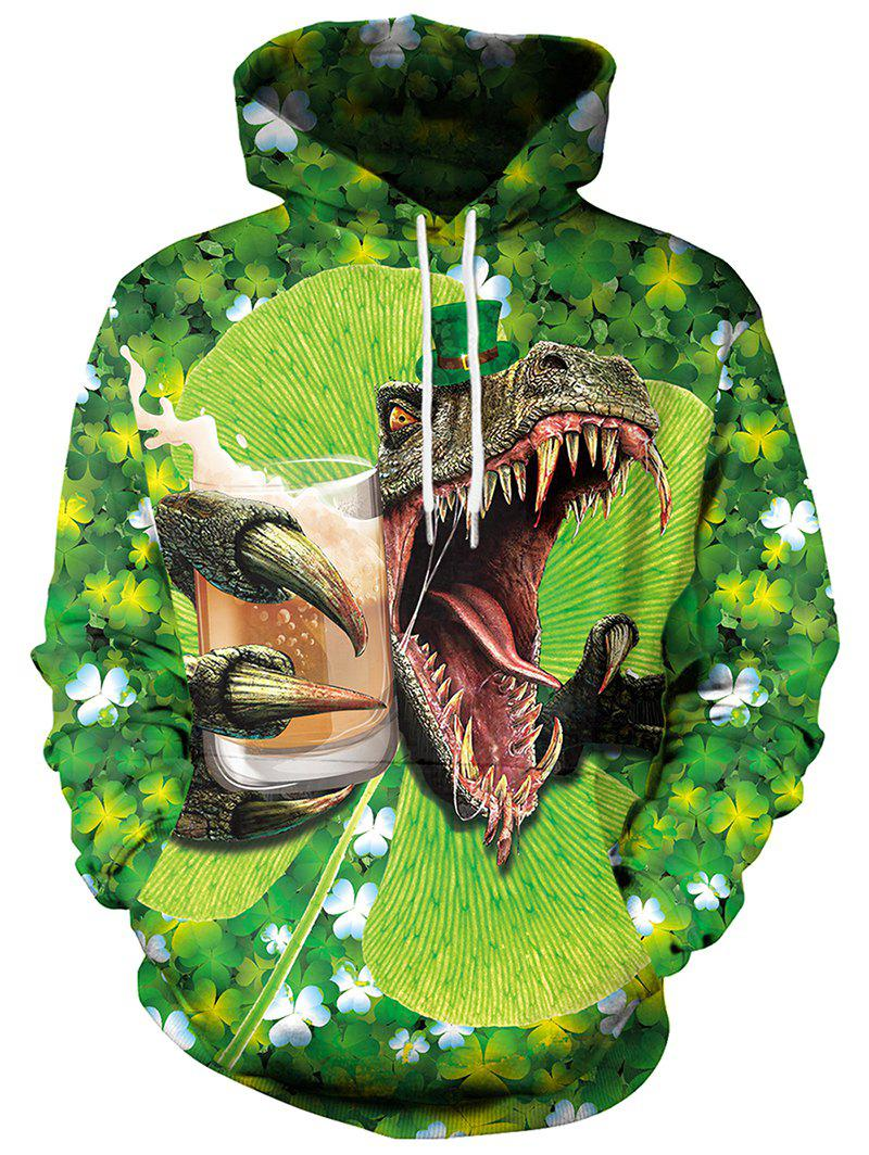 Shops 3D Clover Dinosaur Printed Pullover Hoodie
