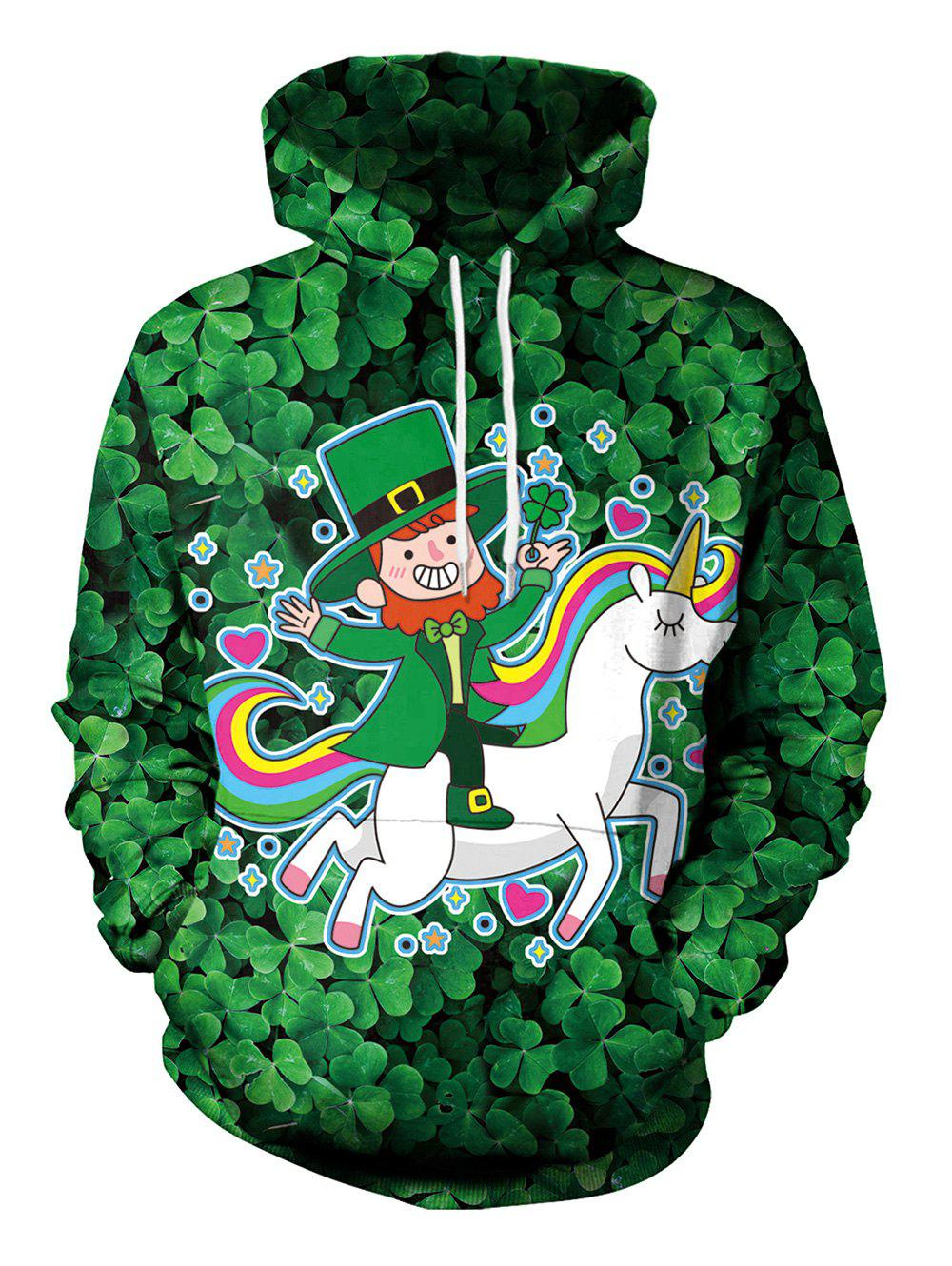 Buy Clover and Unicorn Pattern Pullover Hoodie