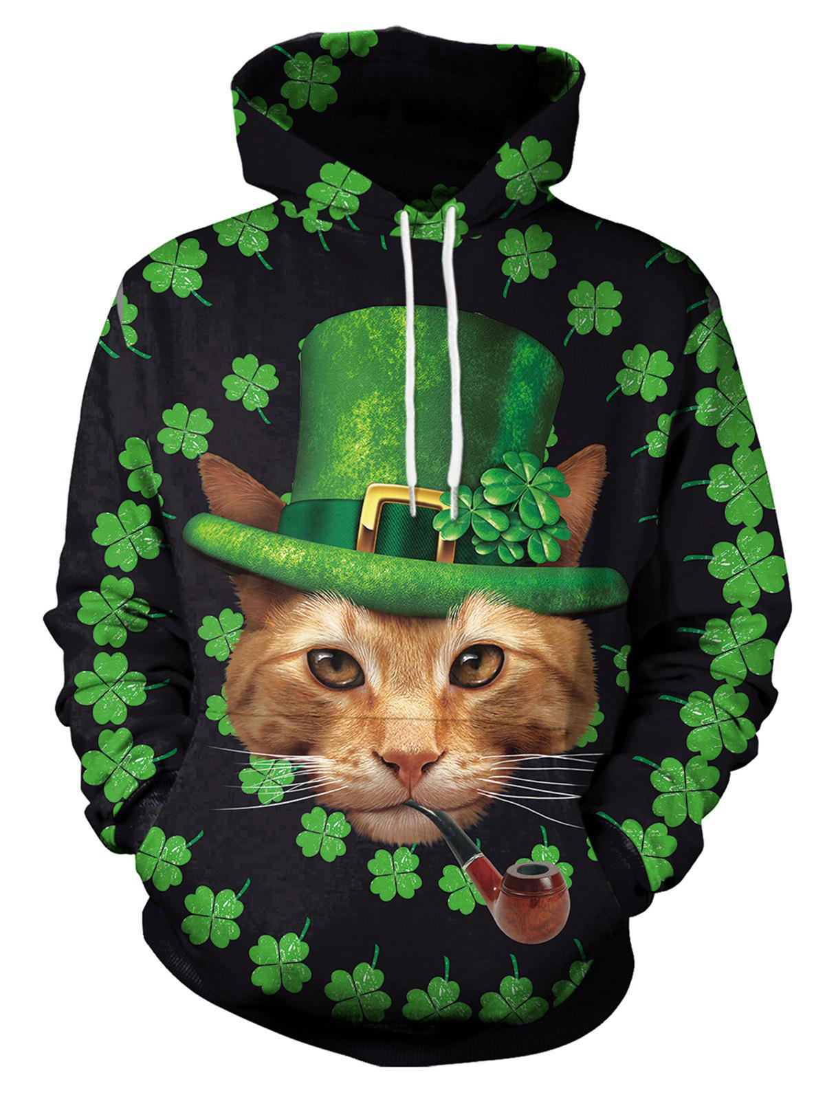 Chic Clover and Cat Printed Pullover Hoodie
