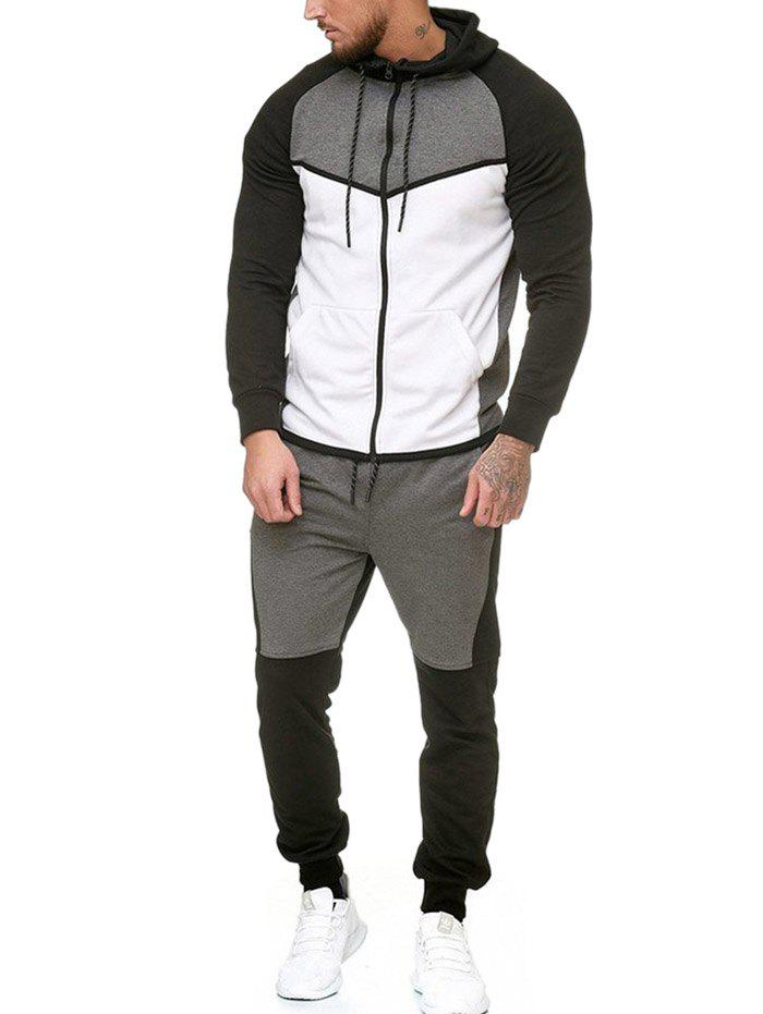 Online Contract Color Fleece Hooded Jacket and Jpgger Pants