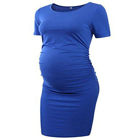 Online Round Neck Short-sleeved Solid Color Maternity Dress