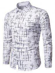 Button Up Lines Print Casual Shirt -