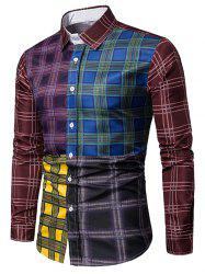 Plaid Print Color Block Casual Shirt -