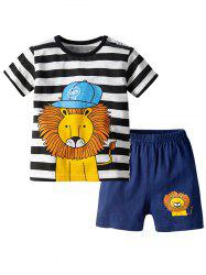 19F124E Striped Lion Pattern Short-sleeved Two-piece Boy's Clothing Suit -