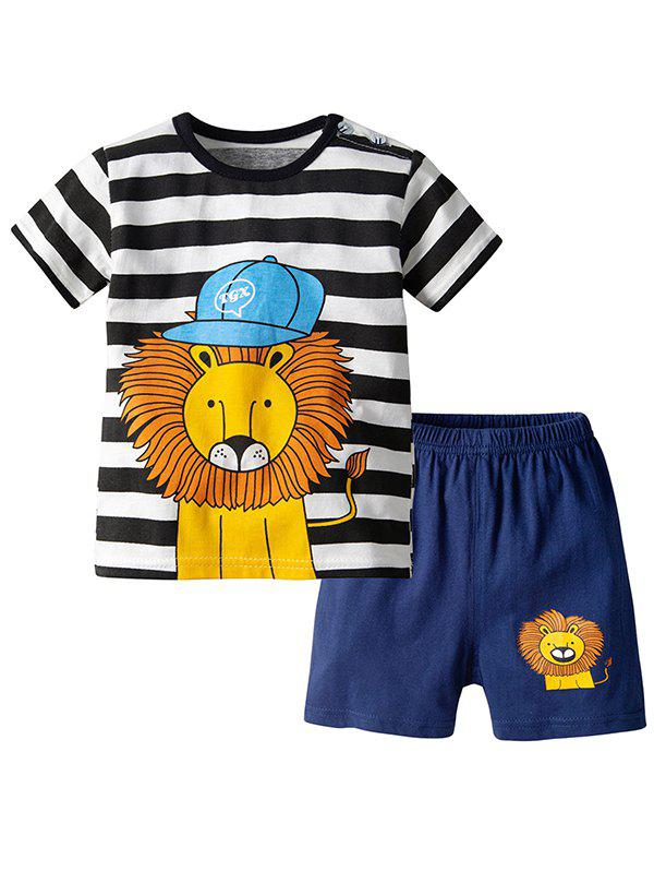 Store 19F124E Striped Lion Pattern Short-sleeved Two-piece Boy's Clothing Suit