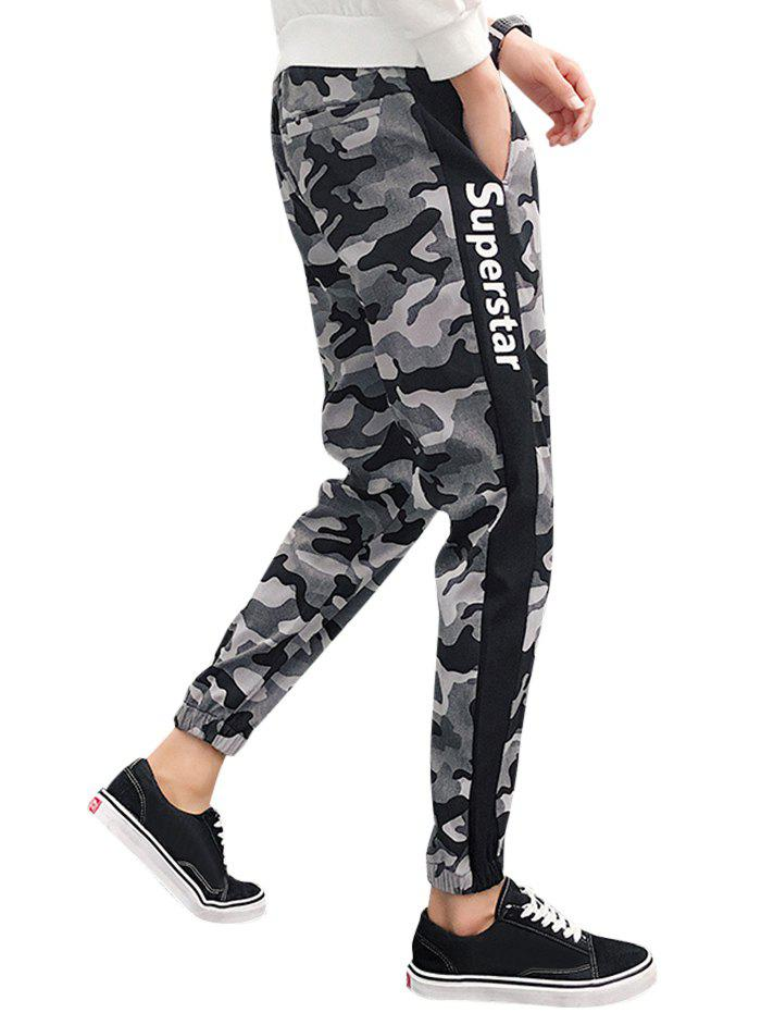 Unique Side Letter Print Camo Drawstring Jogger Pants