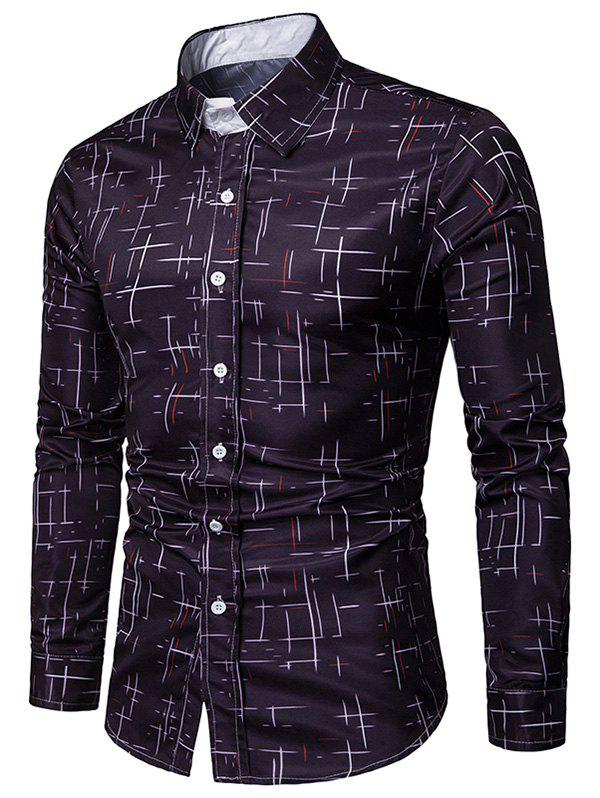 Store Button Up Lines Print Casual Shirt