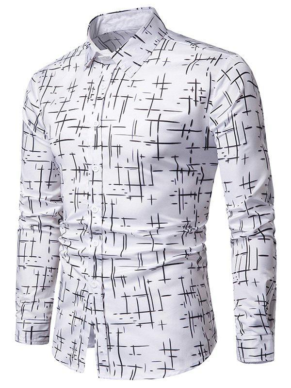 Hot Button Up Lines Print Casual Shirt