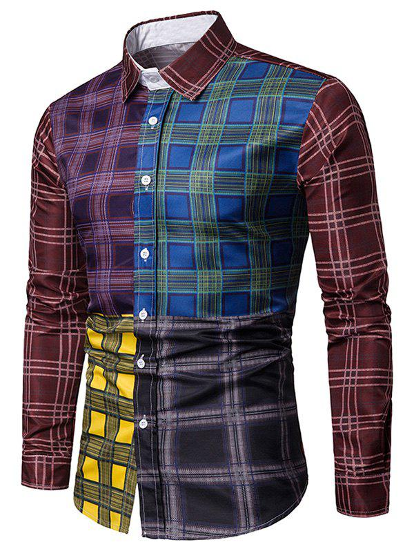 Store Plaid Print Color Block Casual Shirt