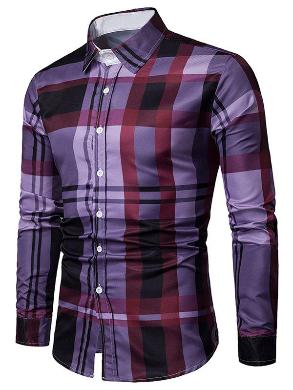 Online Long Sleeves Plaid Print Button Up Shirt