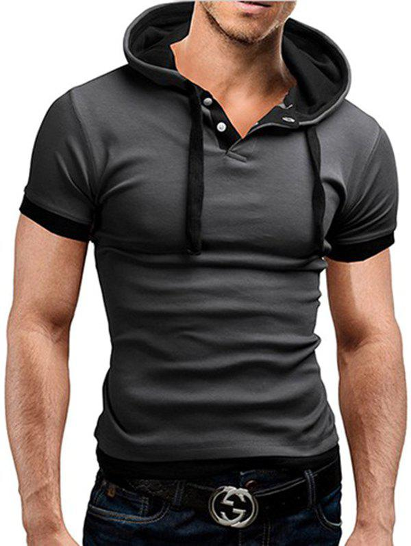 Unique Men's T-shirt Large Size Hooded Short-sleeved Stitching