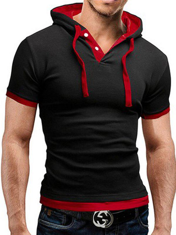Buy Men's T-shirt Large Size Hooded Short-sleeved Stitching