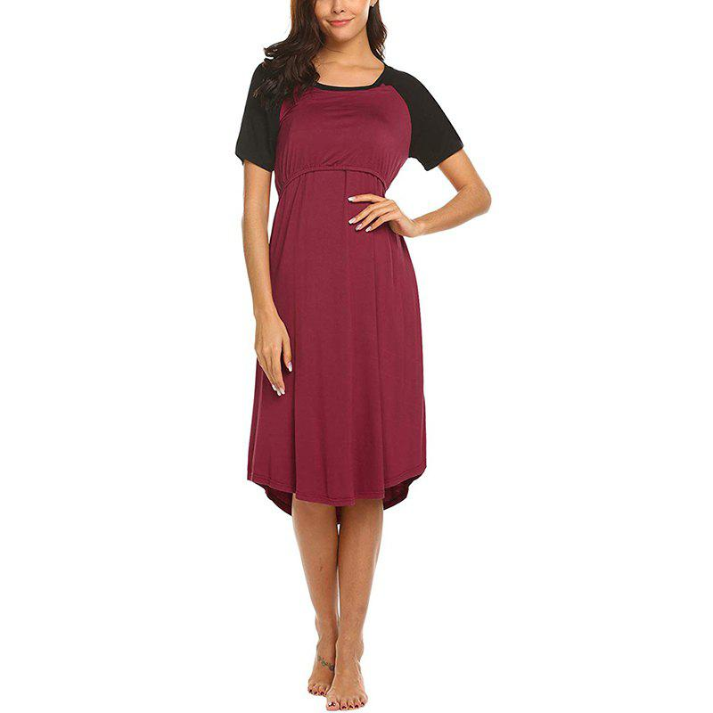 Outfits C8926 Round Neck Short-sleeved Pregnant Women Breastfeeding Dress