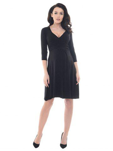 Women s Dress Fashion Maternity V neck Mid sleeve
