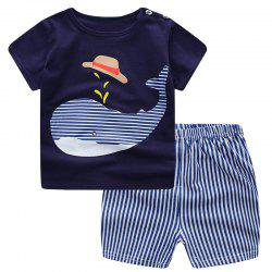 19F124L Boys Cotton Short-sleeved T-shirt Shorts Two-piece -