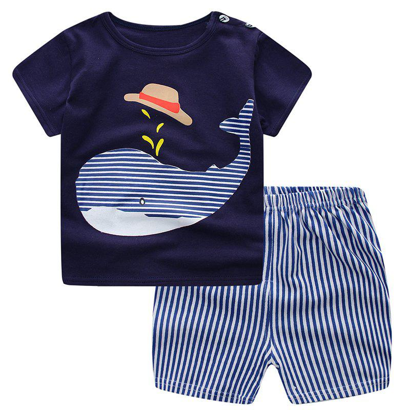 Fancy 19F124L Boys Cotton Short-sleeved T-shirt Shorts Two-piece