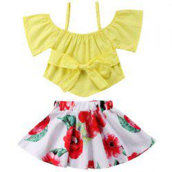 FT1585 Girls Bow Off-the-shoulder Top Flower Print Skirt Two-piece -