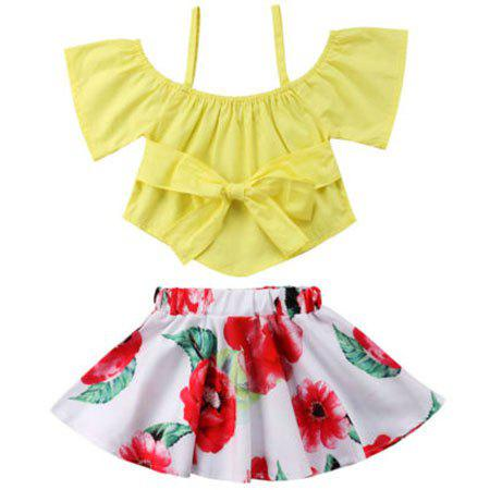 Outfit FT1585 Girls Bow Off-the-shoulder Top Flower Print Skirt Two-piece