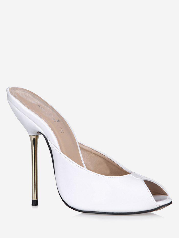 a253a7aee93 Online Patent Leather Peep Toe Heeled Slippers