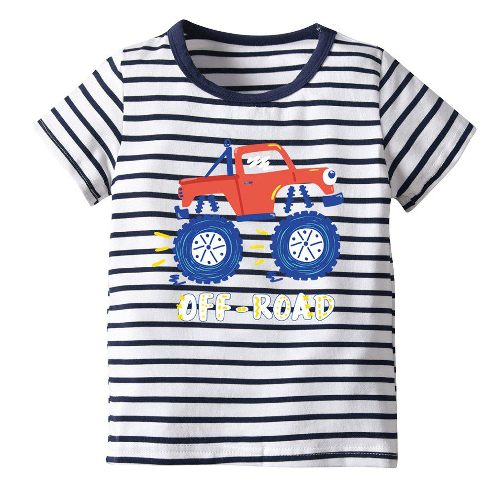 Best 19F133E Children Short-sleeved Striped Cartoon T-shirt