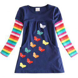 LH5803 Girls' Dress Embroidered Butterfly Cotton Rainbow Long Sleeve -