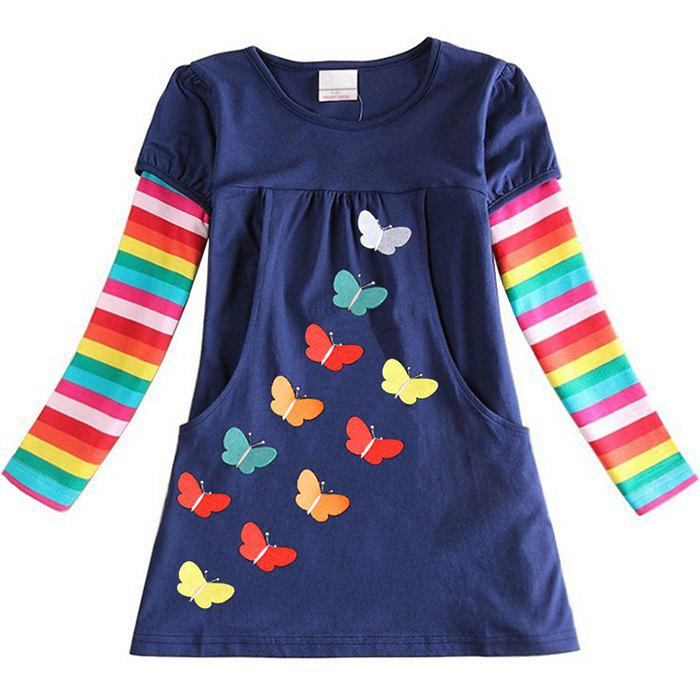 Store LH5803 Girls' Dress Embroidered Butterfly Cotton Rainbow Long Sleeve