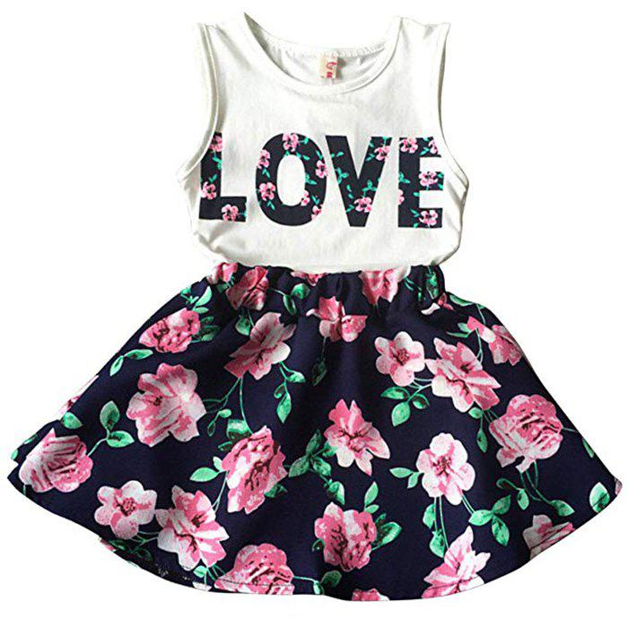 Discount Korean Children's Clothing Girls LOVE Letters Sleeveless Vests Skirt Two-piece