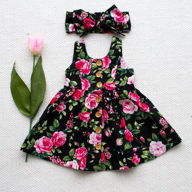 Fancy Summer Girl Floral Sling Dress with Bow Tie Hair Band