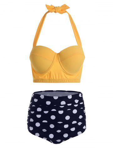 Polka Dot Halter Plus Size Underwire Bathing Suit