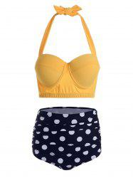 Polka Dot Halter Plus Size Underwire Bathing Suit -