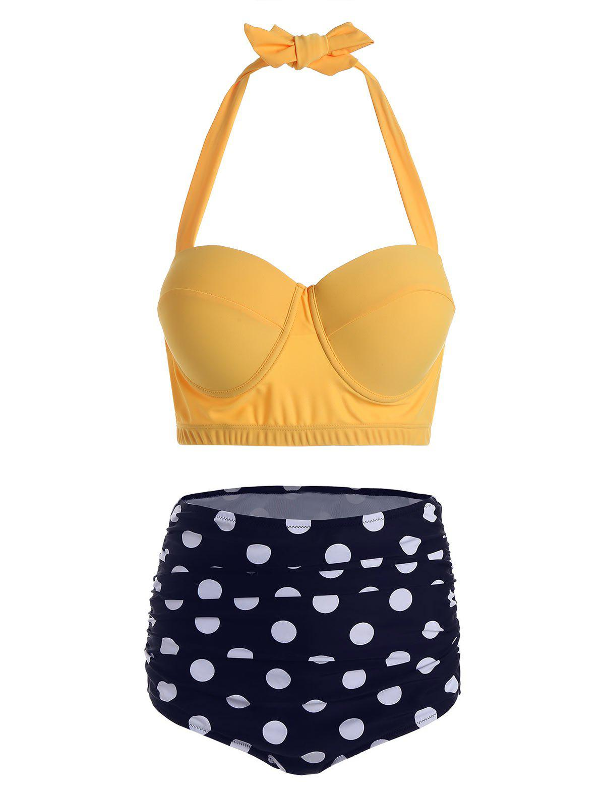 Affordable Polka Dot Halter Plus Size Underwire Bathing Suit