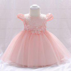 L1842XZ Flower Princess Dress Toddler Baby Bright Bead Cap Sleeve Lace Gown -