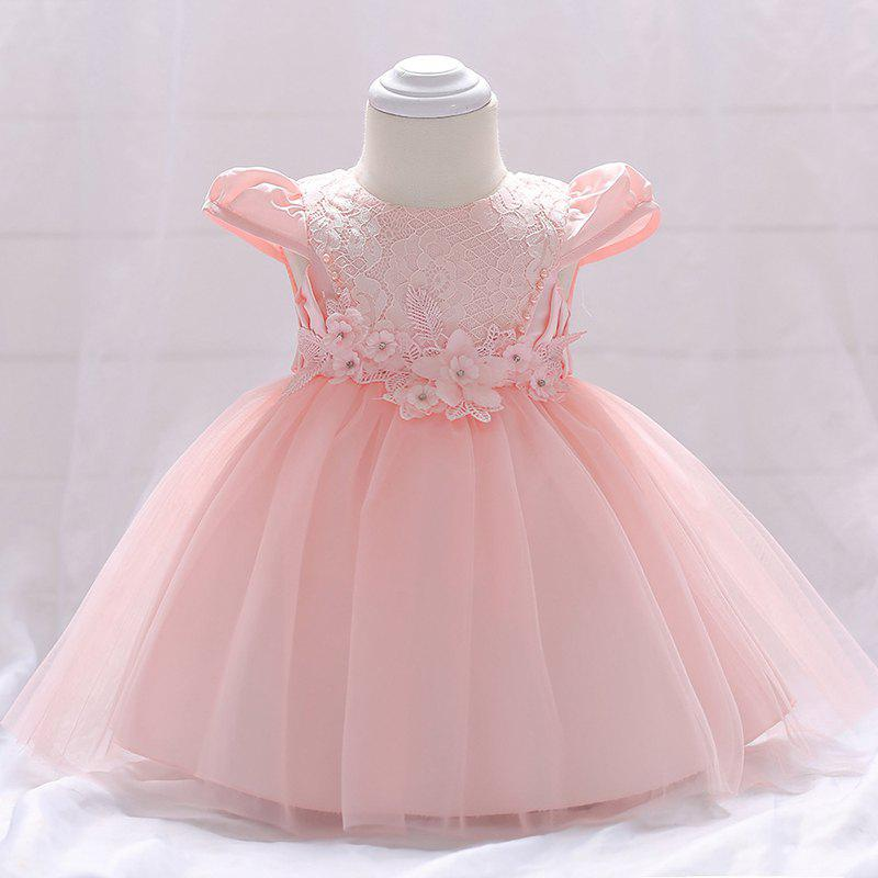 Store L1842XZ Flower Princess Dress Toddler Baby Bright Bead Cap Sleeve Lace Gown