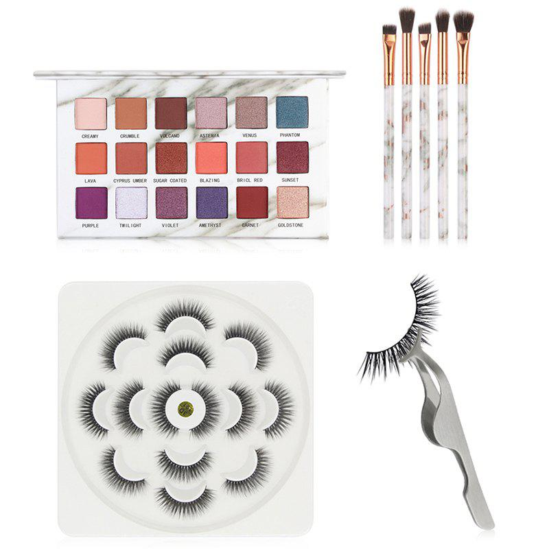 Unique MAANGE 5736 False Eyelash Marble Eye Shadow Makeup Brush Set