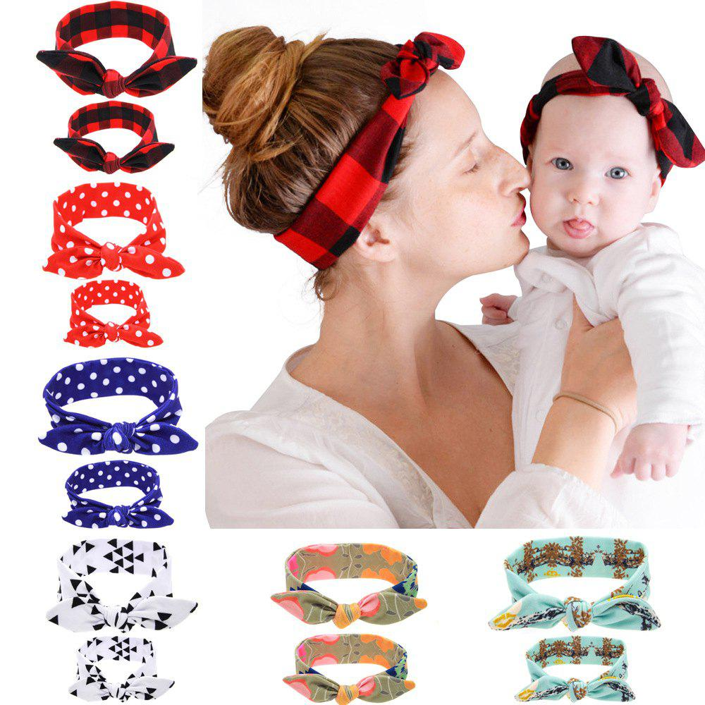 Outfits KT048 Printed Parent-child Rabbit Ear Hair Band 2pcs