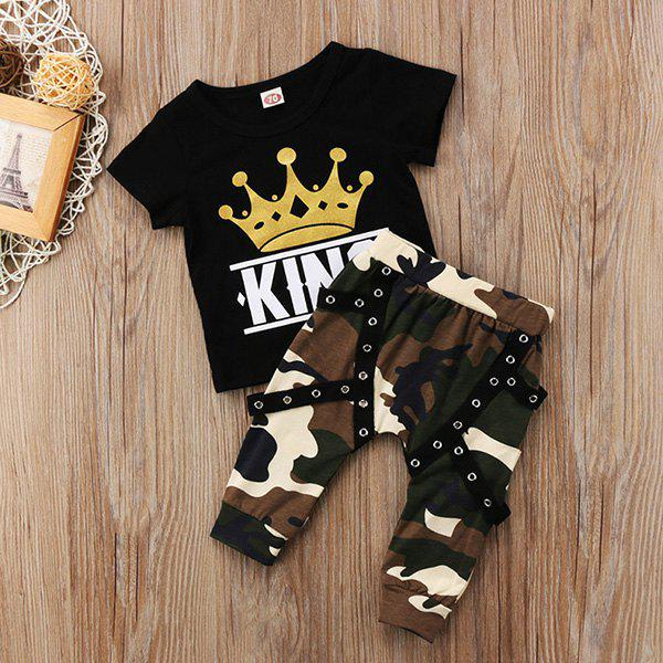 Latest Boys' Top Pants Set Short Sleeve Casual Camouflage