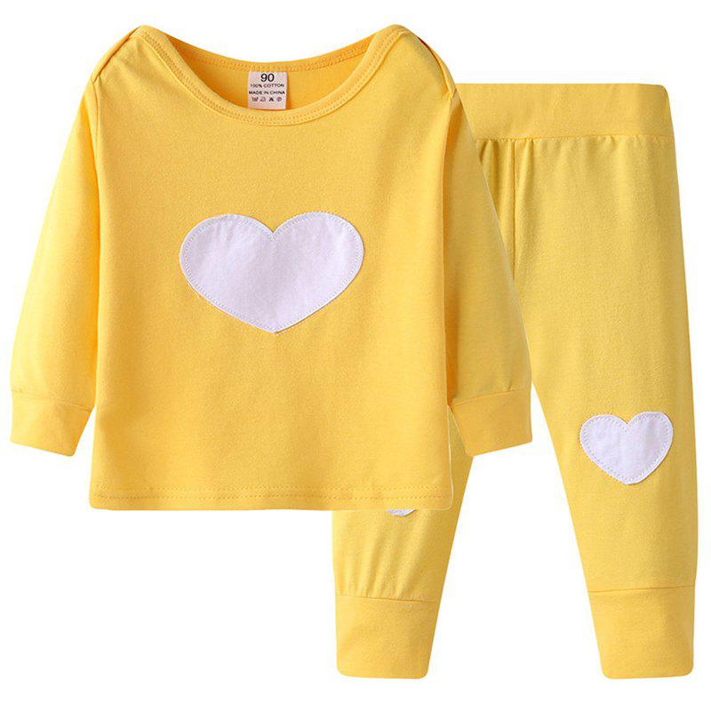 Fashion ET184 Baby Cotton Love Print Long-sleeved Shirt + Trousers Casual Two-piece